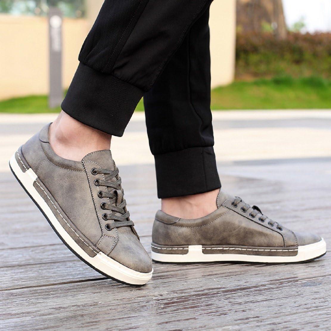 Homme Baskets /à Lacets Casual Basses Chaussures en Cuir Travail Business Sneakers Sport Noir Marron Gris Jaune 38-48