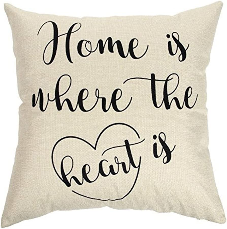 """Qinqingo Inspirational Words Cotton Linen 18"""" x 18"""" Decorative Throw Pillow Case Cushion Cover for Home Sofa Couch (Home is Where The Heart is)"""