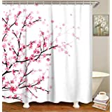 LIVILANPink Floral Shower Curtain Cherry Blossom Bathroom Curtainwith Hooks,Fabric Sakura Plum Blossom Bath Curtain,Decor