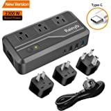Universal Travel Adapter,Rainyb 2300W Power Converter 220v to 110v Voltage Converter with 8A 3-Port USB Charging &Type-C and UK/AU/US/EU Worldwide Plug Adapter,Converter for Hair Dryer (Travel Adapter)
