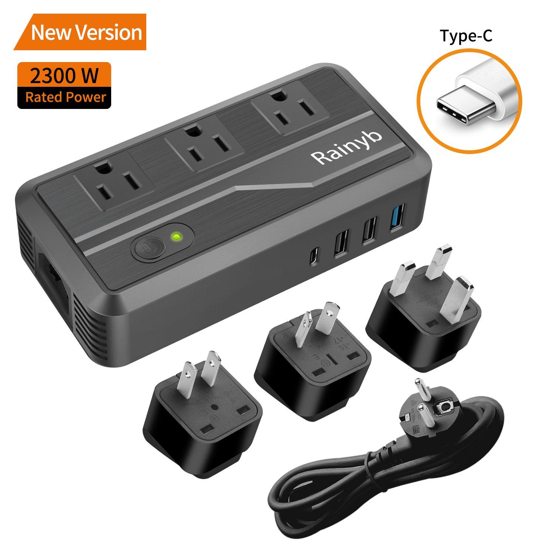 International Travel Adapter,Rainyb 2300W Power Converter 220v to 110v Voltage Converter with 3-Port USB Charging,Type-C and UK/AU/US/EU Worldwide Plug Adapter,Converter for Hair Dryer (Black)