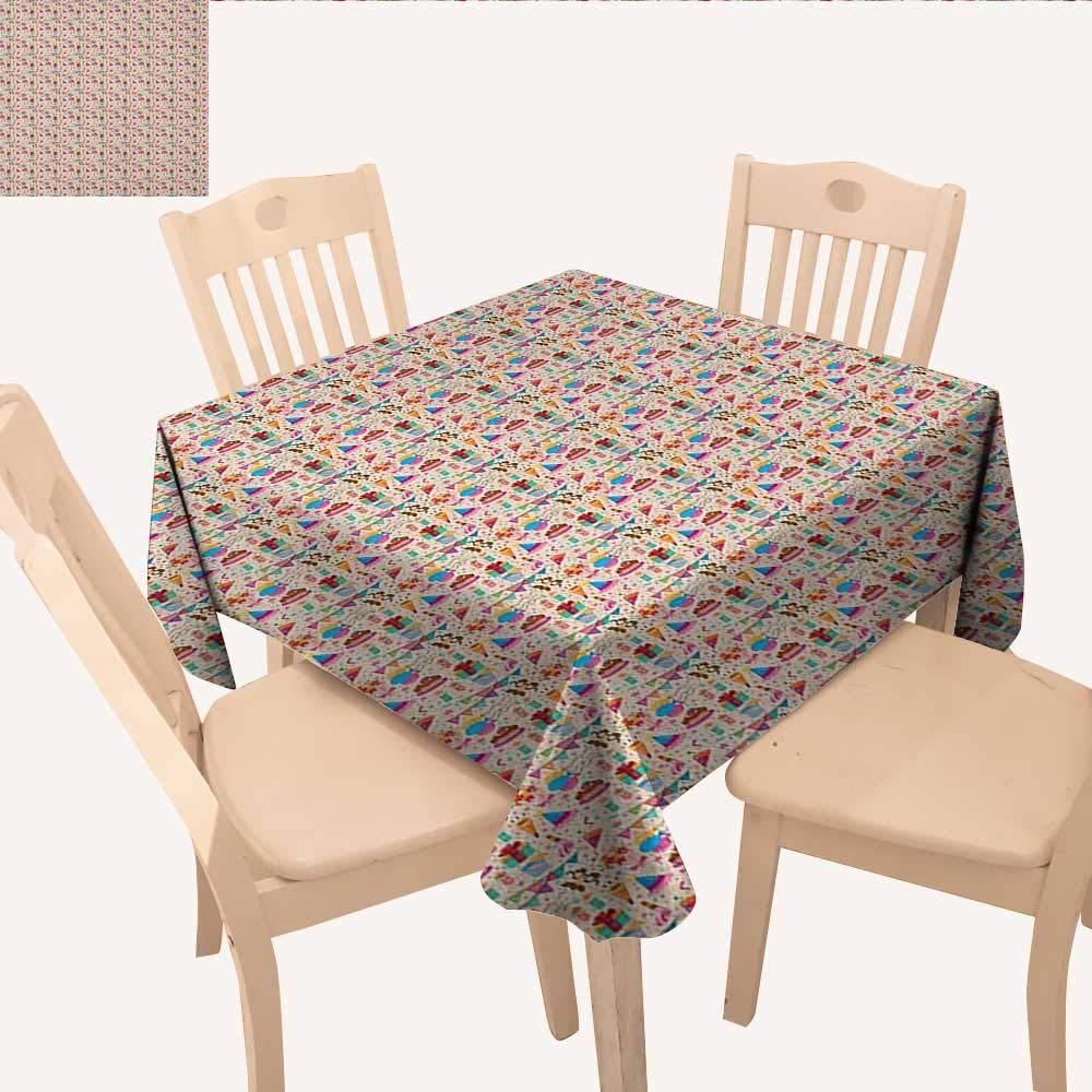 誕生日 しわ防止 テーブルクロス 可愛い レトロ グリーティングカード インスパイアデザイン ハート スマイル フラワー ドット ビンテージ テーブルクロス カバー マルチカラー W 60