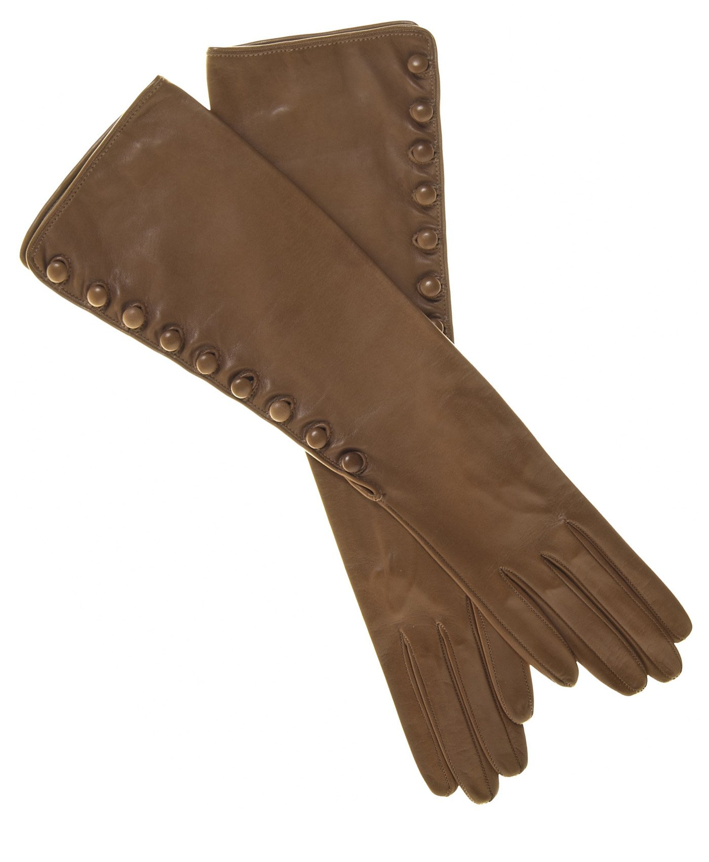Fratelli Orsini Women's Elbow Length Silk Lined Lambskin Gloves With Buttons Size 6 1/2 Color Camel