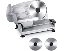 Meat Slicer, Anescra 200W Electric Deli Food Slicer with Two Removable 7.5'' Stainless Steel Blades and Food Carriage, Child