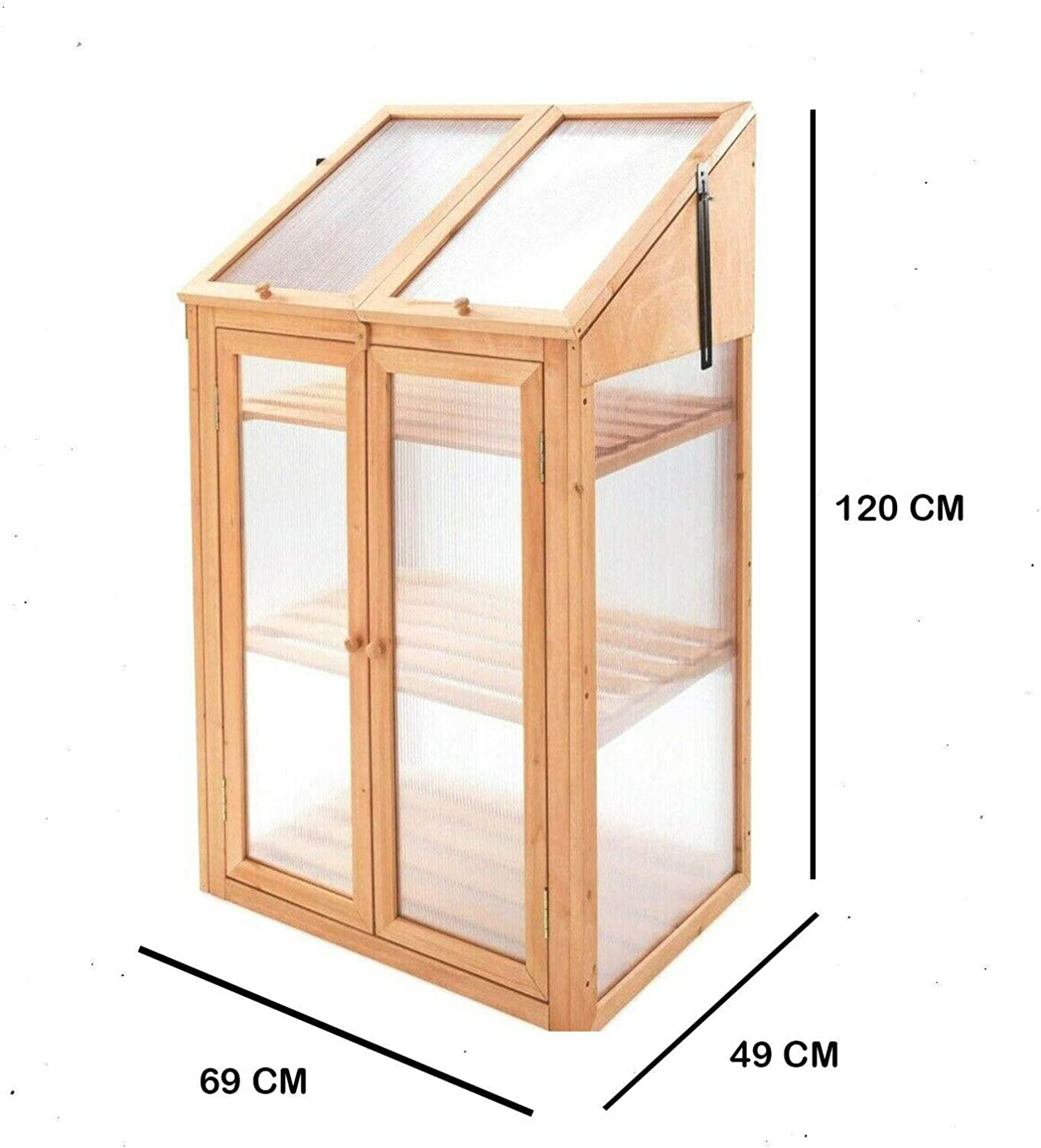 HMWD Double Door Mini 3-Tier Wooden Coldframe Greenhouse With Semi Transparent Poly-carbonate Glazing Garden Greenhouse Outdoor Flower Vegetable Planting Storage Shelves H120xW69xD49 cm