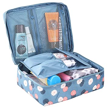 HiDay Floral Print Cosmetic Makeup Bag Travel Toiletry Organizer - 5  Compartments abc112f5ce