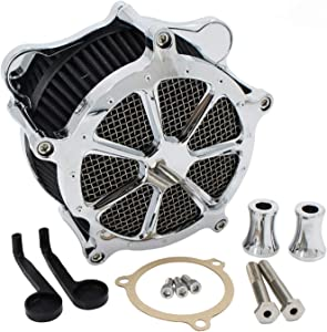 Chrome Air Cleaner Intake Filter CNC Venturi Cut System Kit For Touring Softail Dyna FXDLS Road King Street Glide Road Glide Electra Glide
