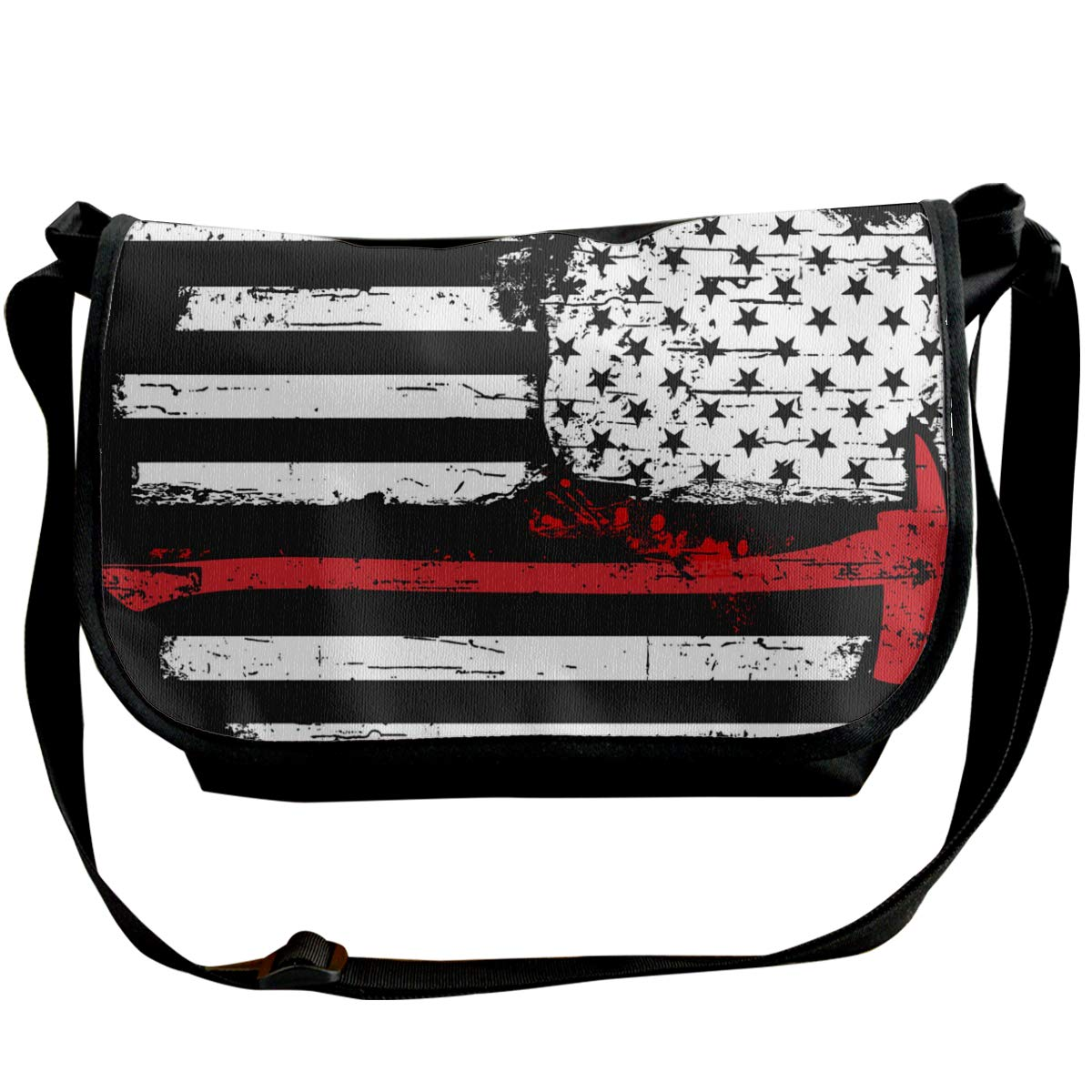 Futong Huaxia American Flag Firefighter Travel Messenger Bags Handbag Shoulder Bag Crossbody Bag Unisex