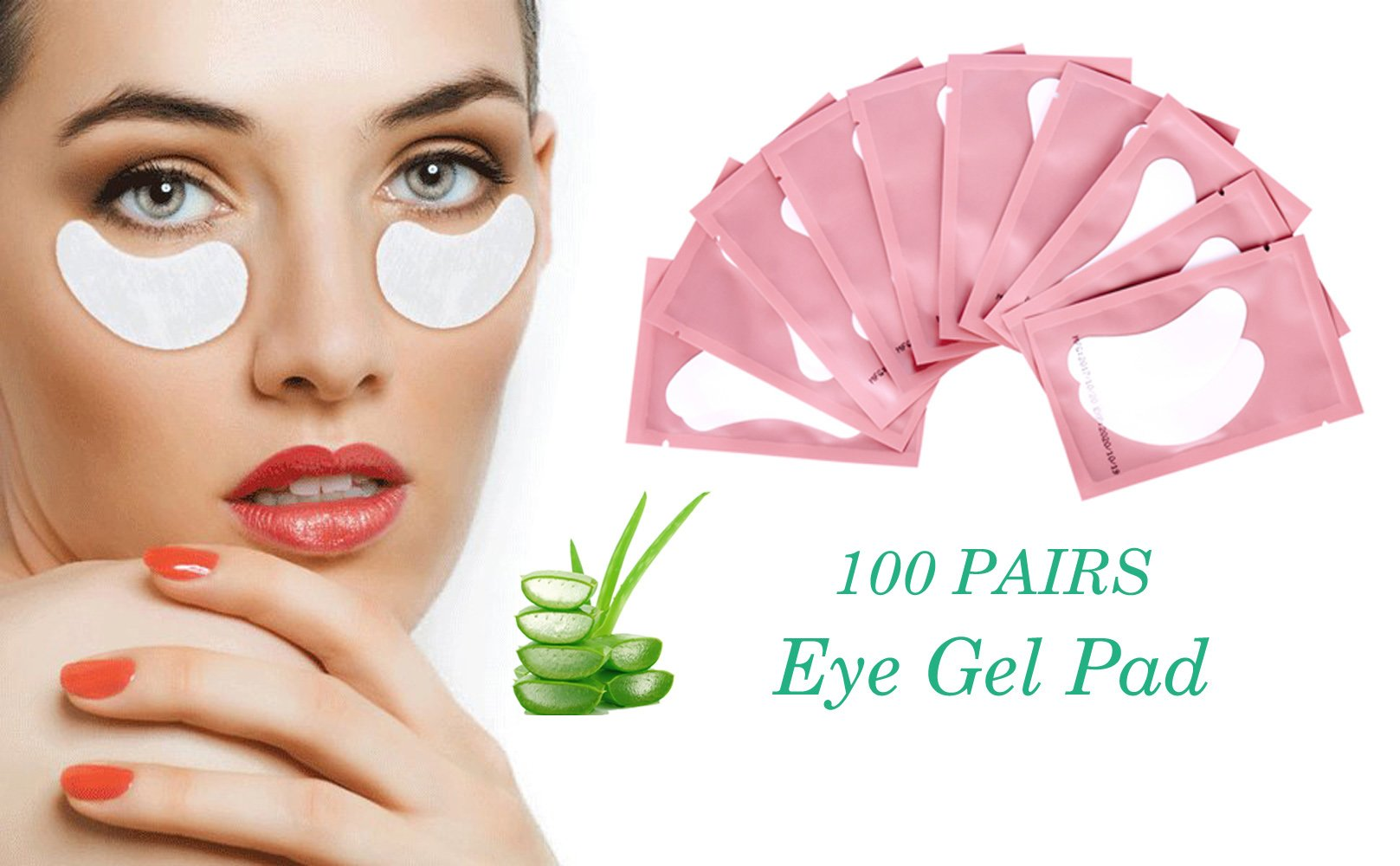 100 Pairs Set Under Eye Pads, Comfy and Cool Under Eye Patches Gel Pad for Eyelash Extensions Eye Mask Beauty Tool (Pink) by Vonsen (Image #3)