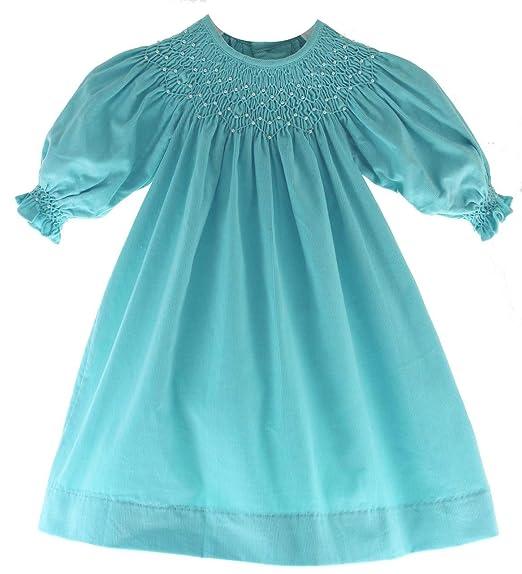 7536ffa7e Amazon.com  Girls Long Sleeve Smocked Dress Winter Corduroy ...