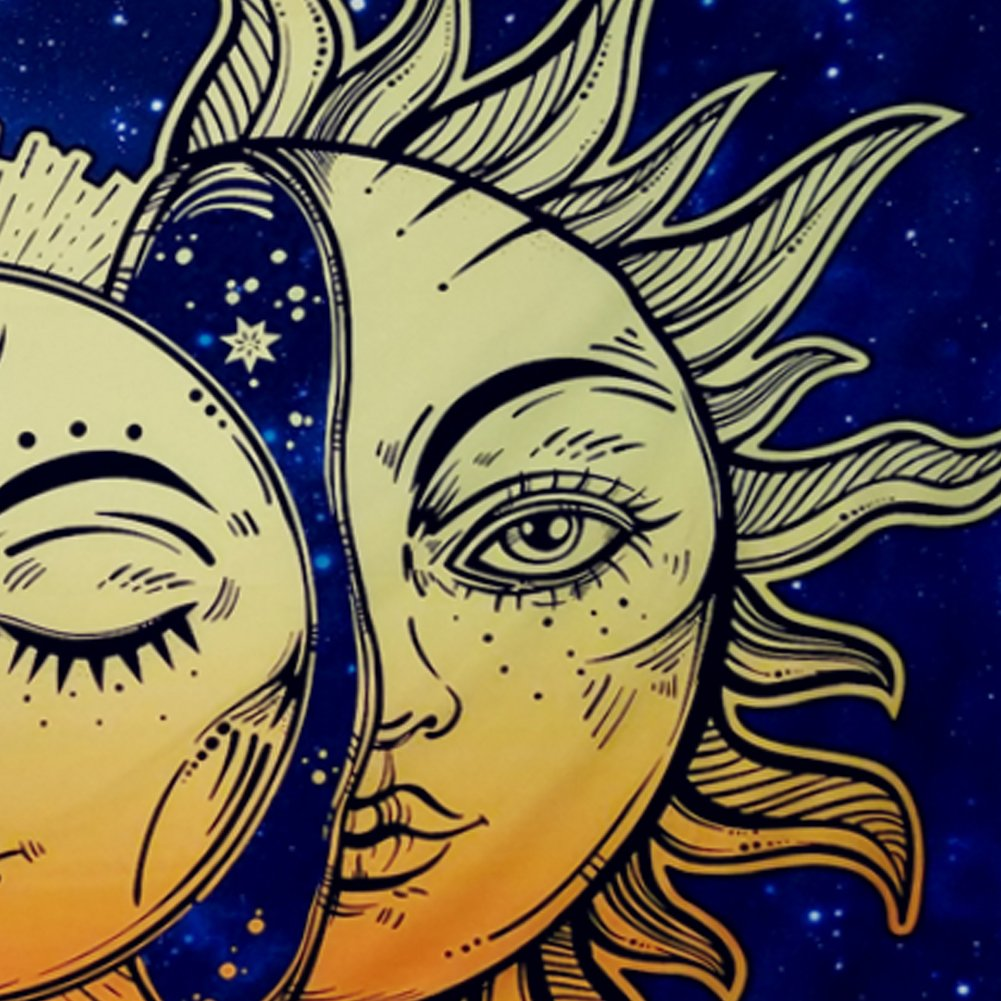 Amonercvita Psychedelic Tapestry Moon and Sun Tapestry Wall Hanging India Hippie Hippy Bohemian Tapestries Starry Sky Wall Tapestry Fractal Faces Mystic Tapestry for Bedroom Living Room Dorm by Amonercvita (Image #7)