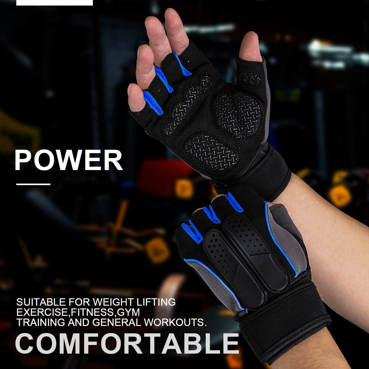 Men Wrist Wrap Workout Gym Gloves For Weight Lifting //Fitness//Training Exercise