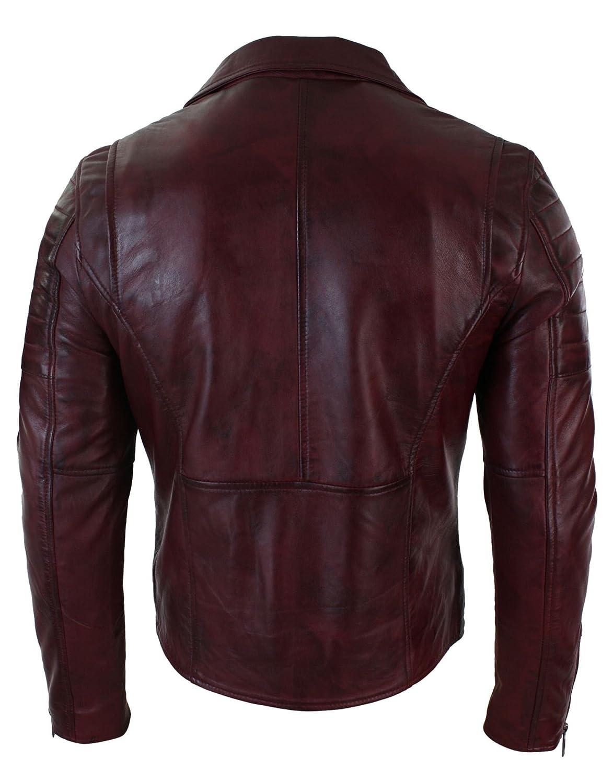 f6a34d5ba Mens Slim Fit Cross Zip Vintage Brando Washed Real Leather Jacket Black  Brown Tan Burgundy