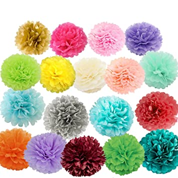 Amazon lg free 18pcs 8inch 10inch paper pom poms decorative lg free 18pcs 8inch 10inch paper pom poms decorative paper flower colorful hanging rose flower mightylinksfo