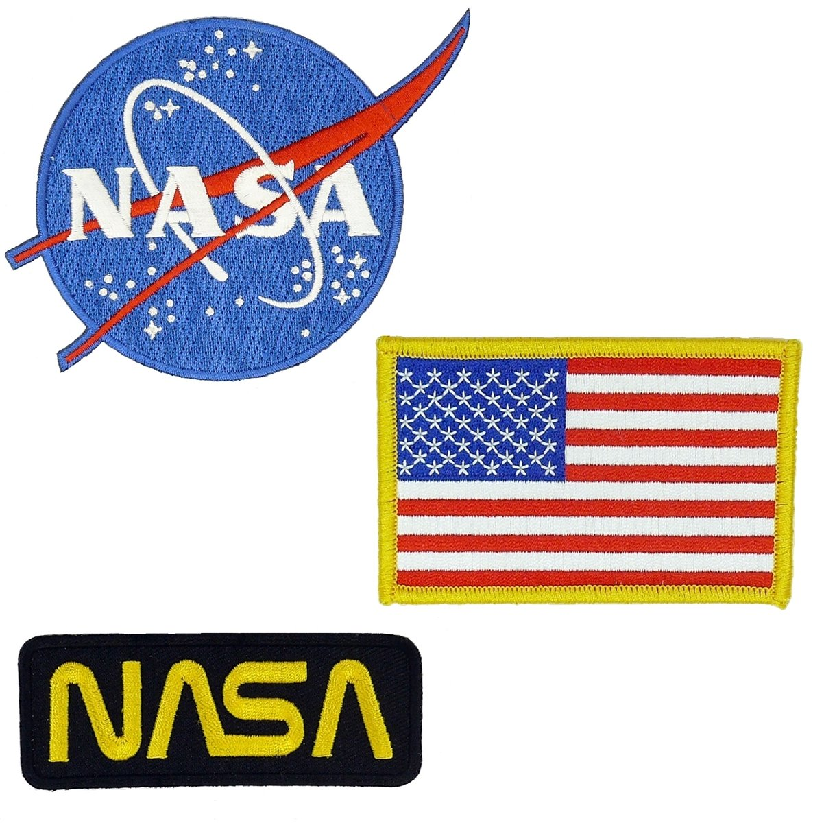 Nasa Blue Logo USA Flag Nasa Black/Gold Vector Space Shuttle Jacket DIY Embroidered Halloween Costume Badge Set of 3 Easy Iron/Sew On Patch Mr Patches NSB-2