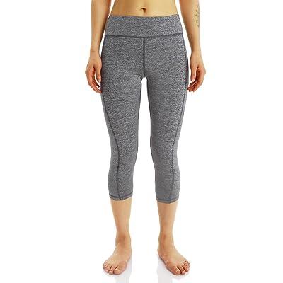 DDTC-us Women's Yoga Leggings Running Leggings With Side Pocket Workout Leggings Workout Pants MeshYoga Capri Pants Grey