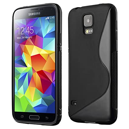 Galaxy S5 Case, Cruzerlite S-Line TPU Case Compatible for Samsung Galaxy S5 - Black
