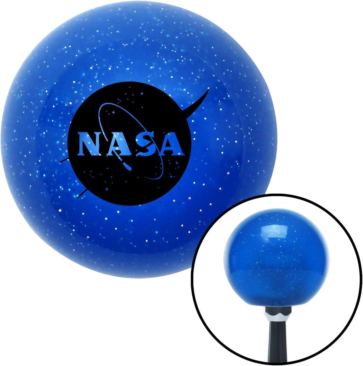 American Shifter 26587 Blue Metal Flake Shift Knob Black NASA Logo Circle