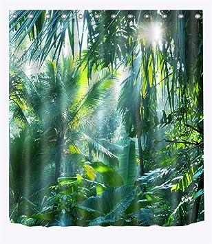 Rideau De Douche Tropical Jungle Plant Rideaux De Salle De Bains