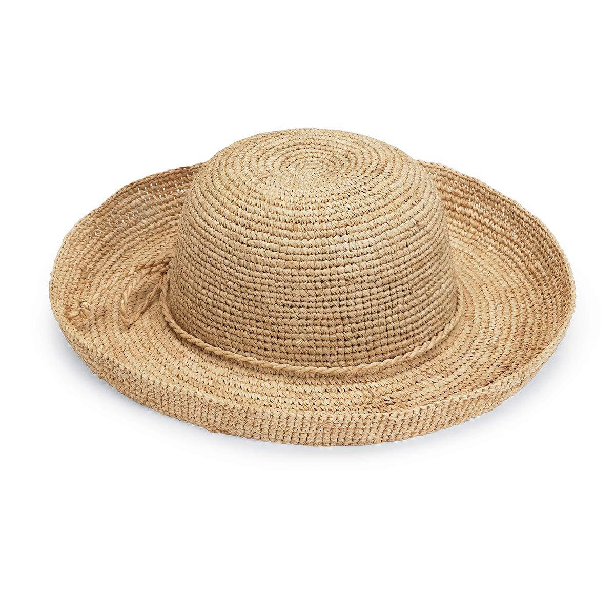 Wallaroo Hat Company Women's Catalina Sun Hat - Modern Handwoven, Twisted Natural Raffia, Wide Brim, Designed in Australia, Natural