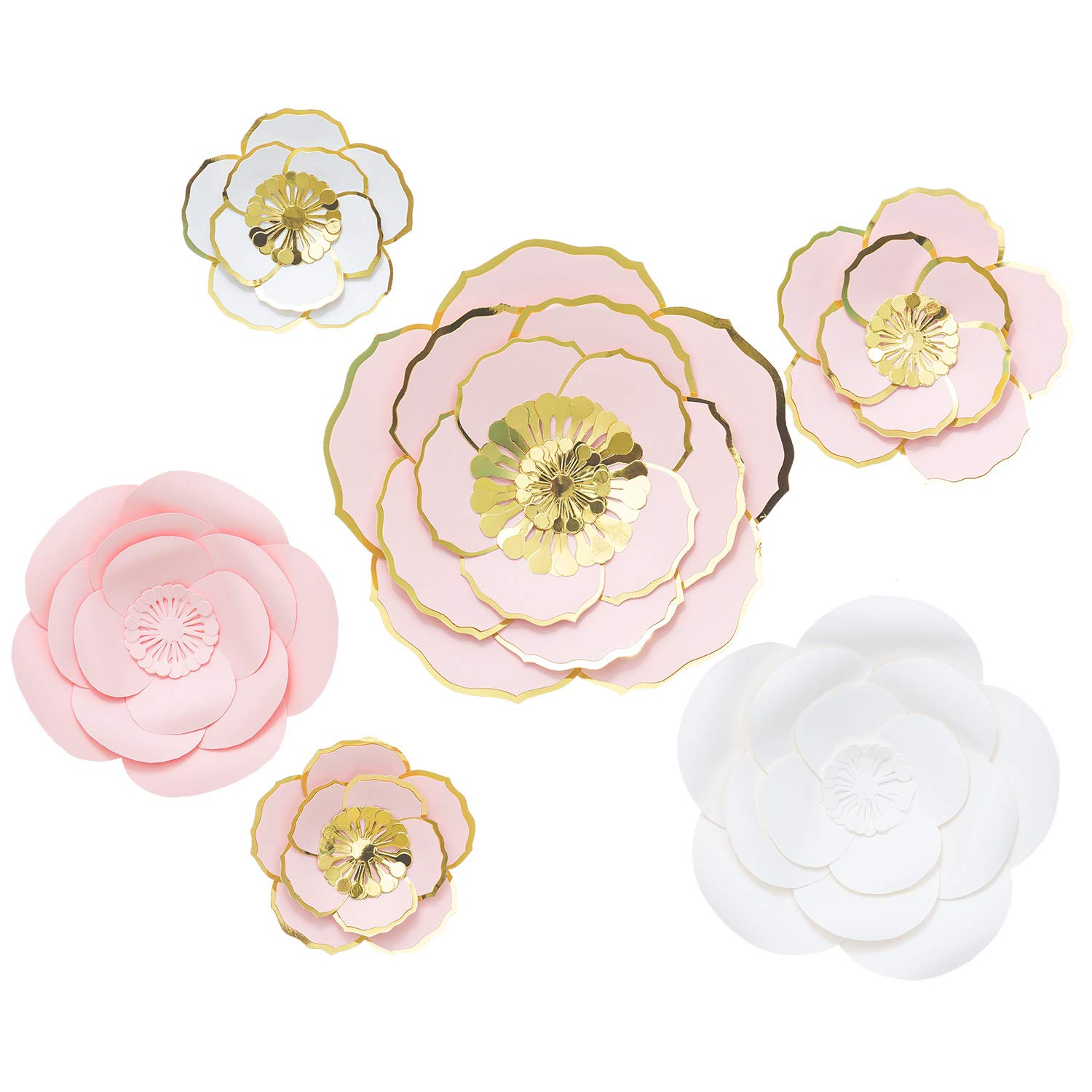 MEJOY Paper Flower Decorations, 6 Piece White Pink and Blush 3D Paper Flower Set, Large Paper Flowers for Nursery Wall Decor,Wedding, Baby Shower Backdrop, Archway, Home Decor