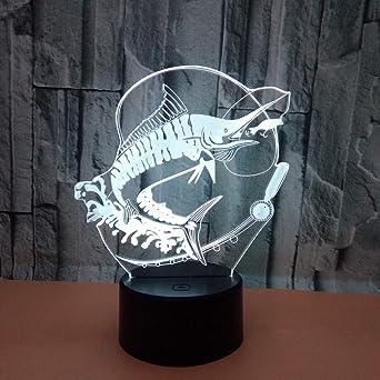 Lámparas de 3D LED cerca de luz, 7 colores, control táctil/control ...