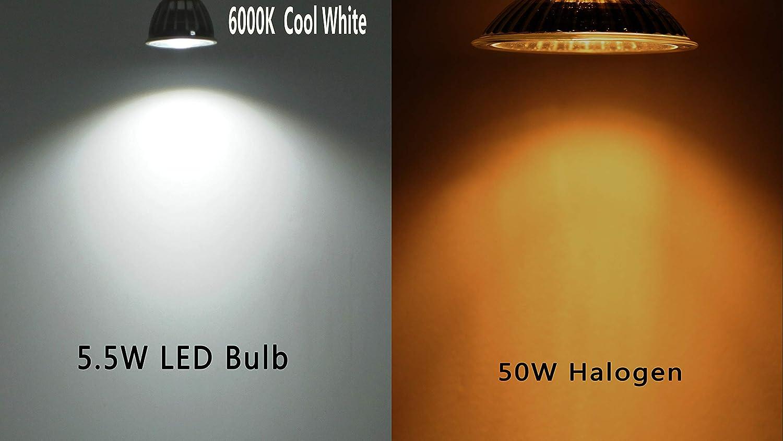 DC12V Dimmerabile MR16 Lampadine a LED Gu5.3 Faretti Bianco Naturale 4000K Equivalente 50-60W 550LM Ra90,90°Angolo del fascio,6 Pezzi. 6000k