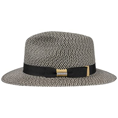 798f4afd6e19d3 Stetson Newkirk Traveller Toyo Straw Hat Sun Beach (L (58-59 cm) -  Black-White): Amazon.co.uk: Clothing