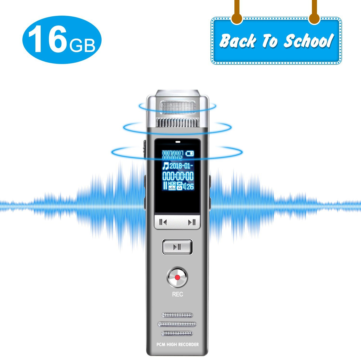 Digital Voice Recorder, 16GB Denoise Sound Voice Activated Recorder With Hi-fi sound effect MP3 Player, Dynamic Noise Reduction Voice-activated Recorder Suitable for Lectures/Classes/ Business Meeting