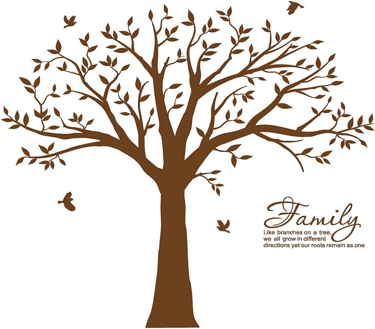MAFENT Family Tree Wall Decal~Family Branches Wall Stickers Family Like Branches on A a Tree Quotes Wall Decoration for Living Room Bedroom Decor(210cm x 210cm,Dark Brown)