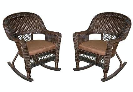 purchase cheap 20c6c d2c77 Amazon.com : Set of 2 Espresso Resin Wicker Outdoor Patio ...
