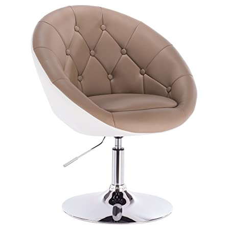 Woltu 1 X Artificial Leather Swivel Chair Height Adjustable Tub Chair  Lounge Chair Khaki+white