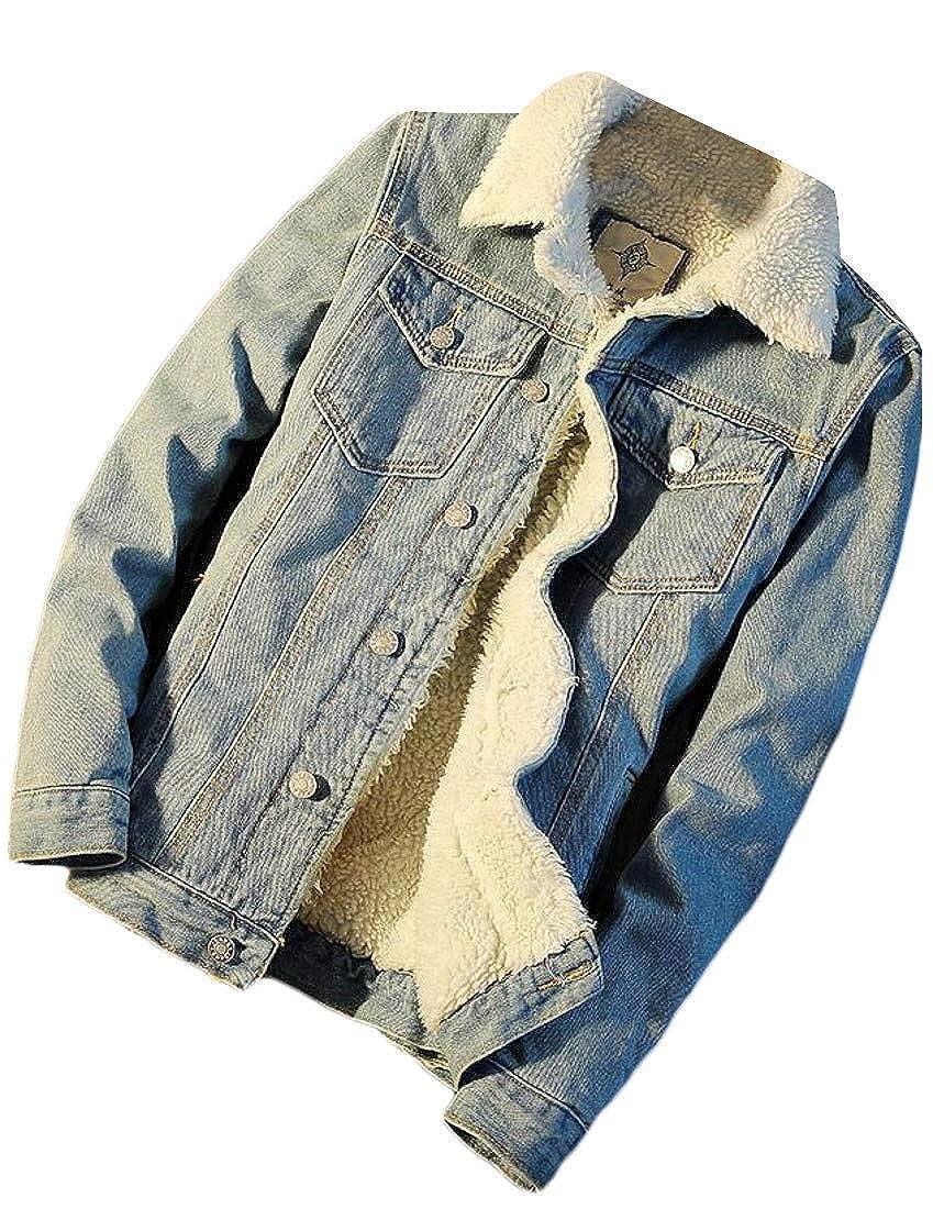 Etecredpow Men's Winter Fleece Denim Jean Jacket Sherpa Lined Parka Coat