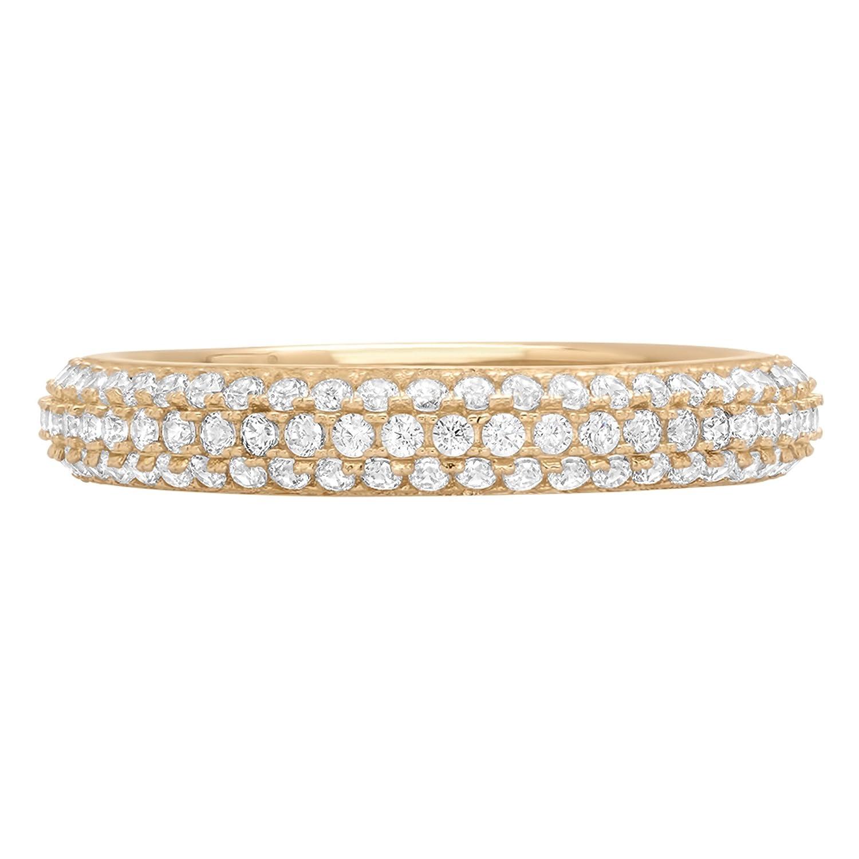 0.8ct Brilliant Round Cut Eternity Petite Infinity Wedding Promise Bridal Engagement Statement Anniversary Band 14k Yellow Gold