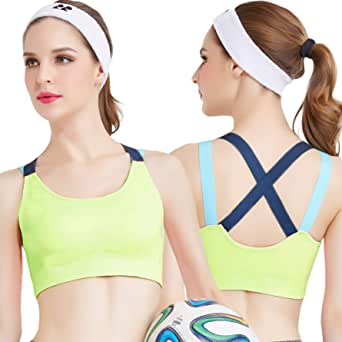 KLiHD Women's Cross-Back Longline Sports Bra - M Green