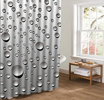 XUNDecor Raindrop Shower Curtain Liner Mildew Resistant Waterproof Bath Polyester Creativity Theme Curtains Or