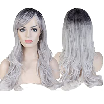 Wigs for Women Long Curly Full Head Wig Black Silber Mix Ombre Synthetic  Hair Natural Fashionable Heat Resistant Wigs  Amazon.co.uk  Beauty 3ec68e905f