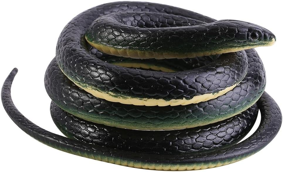 Hztyyier Realistic Soft Rubber Black Mamba Snake Toy Garden Props 52 Inch Long for Funny Joke Prank Toy Gift and Practical Joke