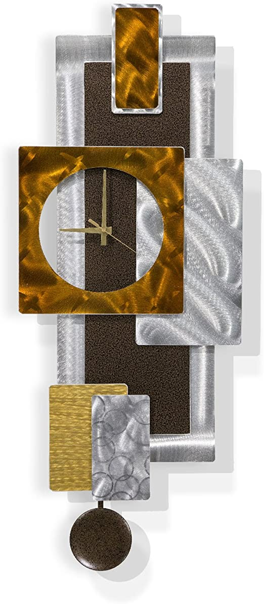 Amazon Com Statements2000 Modern Brown Metal Wall Clock Home Office Decor Abstract Design Wall Sculpture Tectonic By Jon Allen 32 Inch Home Kitchen