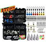 Ilure Fishing Accessories Tackle Box Kit with Hooks Weights Jig Heads Swivel Slides Ball Bearing Rolling Snap Barrel for…