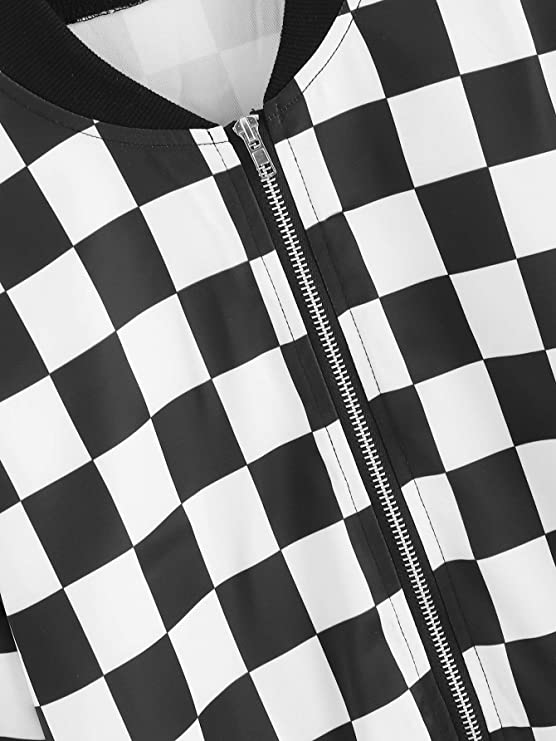 00ab1596a SheIn Women's Casual Checkered Long Sleeve Zip up Top Cropped Bomber Jacket