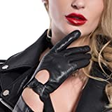 MATSU Classic Women Full Finger Driving Motorcycle Lambskin Unlined Thin Leather Gloves Open Back M9237