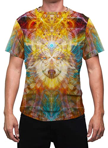 Rave  Aesthetic Shaman Dream  Mens T-Shirt Psychedelic  Ayahausca Animal Festival Clothing