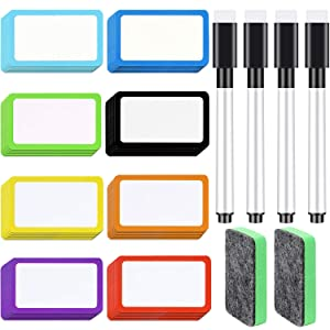 56 Pieces Magnetic Dry Erase Labels Name Plate Tags and 4 Pieces Magnetic Dry Erase Markers with Eraser Cap and 2 Pieces Magnetic Whiteboard Erasers Dry Erase Erasers for Whiteboards Refrigerator