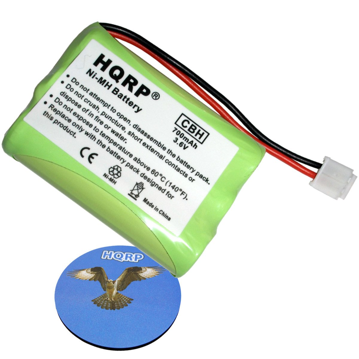 HQRP Phone Battery for General Electric GE 25942, 25952, 25983, 27851, 27906 Cordless Telephone plus Coaster 884667408211041