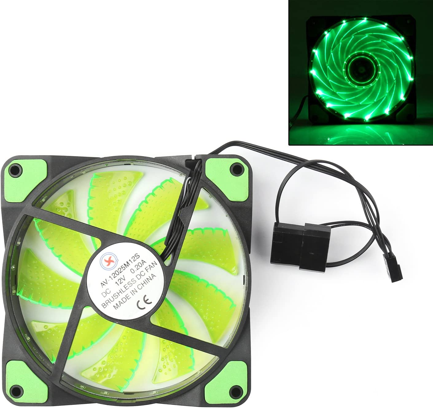 Areyourshop 4/× 120mm 3 4 Pin CPU Sleeve Bearing Cooling Fan Computer 15 LED Light 12V Green