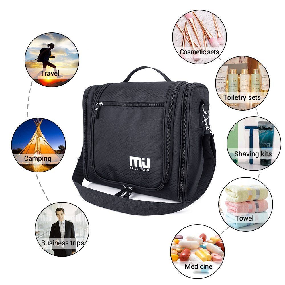 Travel Hanging Toiletry Bag, Waterproof Cosmetics Makeup Toiletry Organizer, Compact Bathroom Storage Organizer, Travel Kit Perfect For Beauty Accessories, Personal Items, Shampoo and Body Wash by MIU COLOR (Image #7)