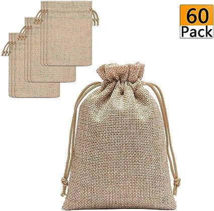 Amazon.com: 60 bolsas de arpillera con cordón – 5.3 x 3.8 ...