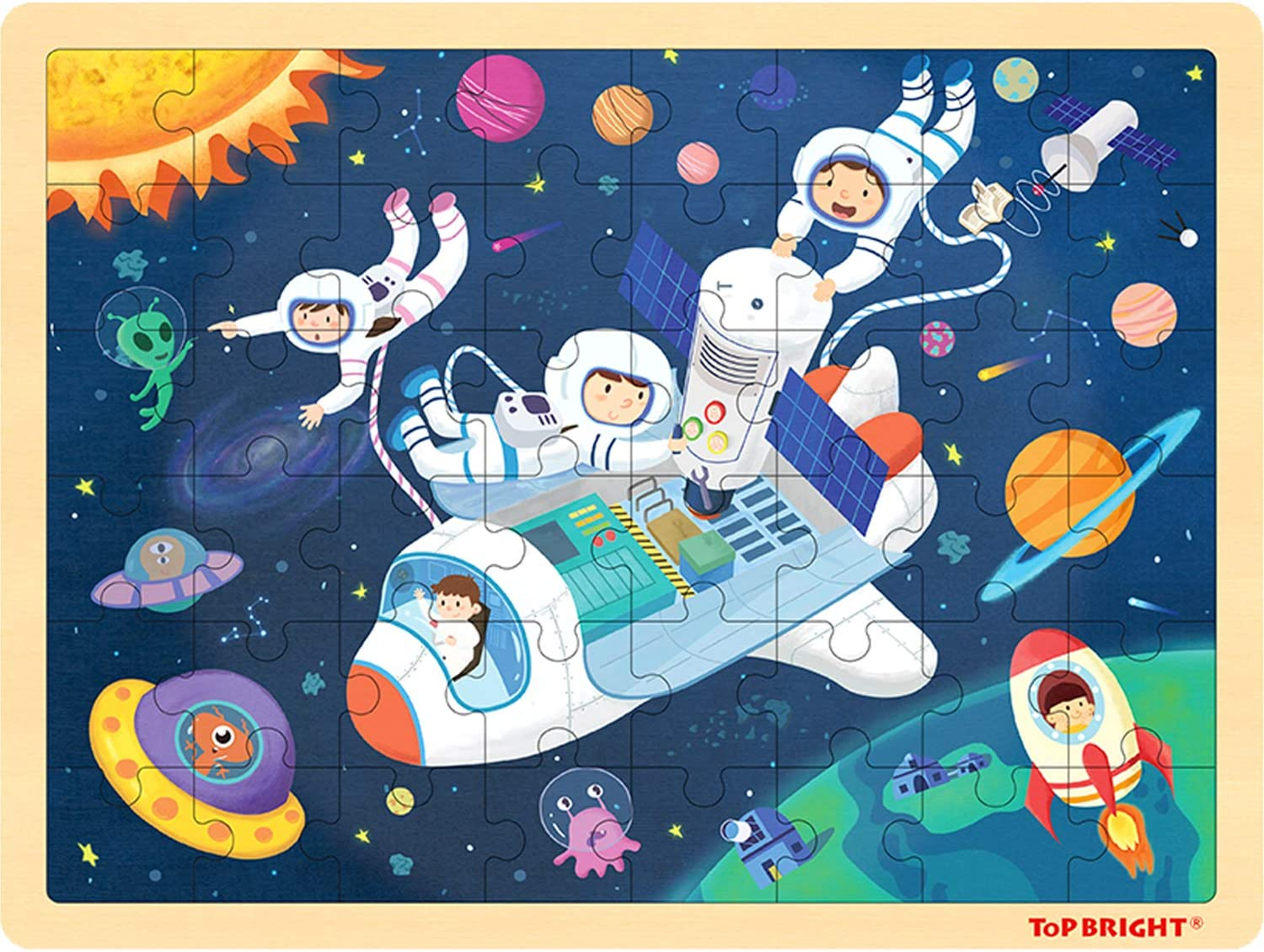 TOP BRIGHT 48 Piece Puzzles for Kids Ages 4-8 - Rocket Wooden Jigsaw Puzzles for Toddlers 4 Year Old