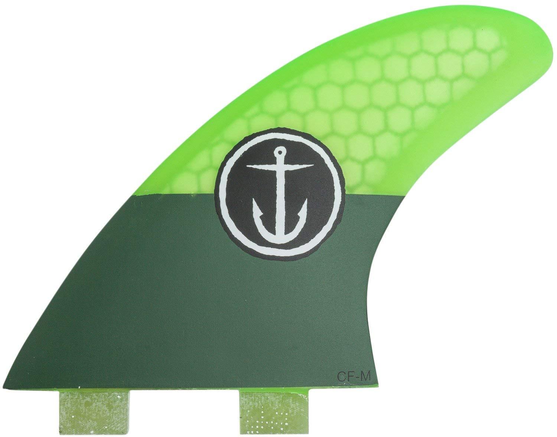 Twin Tab CF-Medium Surfboard Fins Captain Fin Co Green 3 Fin Set